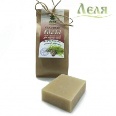 Мыло-скраб кедровое для жирной кожи с белой глиной (80г) «Леля»
