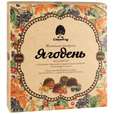 Мармелад «Ягодень» Ассорти в шоколадной глазури (коробка, 200г) «Сибирский Кедр»